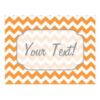 Bright Orange Chevrons - Custom Text Postcard