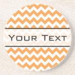 Bright Orange Chevrons - Custom Text Sandstone Coaster
