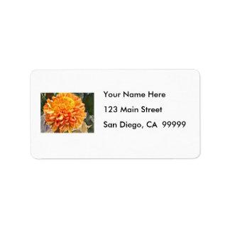 Bright Orange Chrysanthemum Address Label