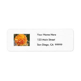 Bright Orange Chrysanthemum Return Address Label