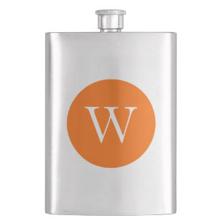Bright Orange Circle Monogram Flask