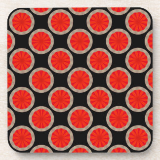 bright orange circle pattern coaster