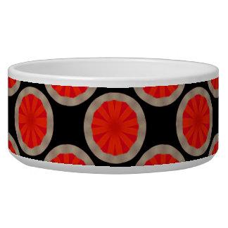 bright orange circle pattern dog bowl