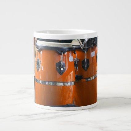 Bright orange conga drums photo jumbo mug
