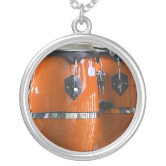 Bright orange conga drums photo round pendant necklace