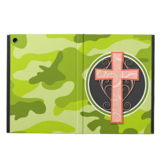 Bright Orange Cross; green camo, camouflage iPad Air Cases