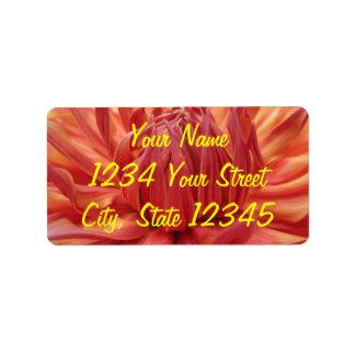 Bright Orange Dahlia Flower Label