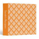 Bright Orange Damask Personalized Recipe Binder