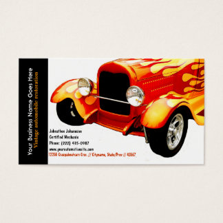 Bright Orange Flames Restored Vintage Auto Business Card