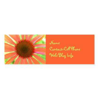 Bright Orange Floral Advertisement Double-Sided Mini Business Cards (Pack Of 20)