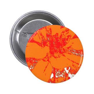Bright Orange Floral Dahlia Flower Pattern Pinback Button