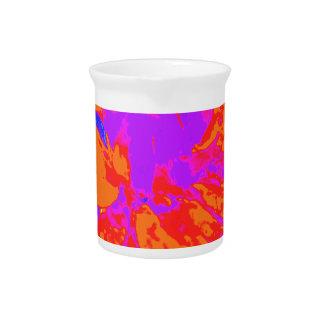 Bright Orange Floral Dahlia Flower Pattern Drink Pitcher