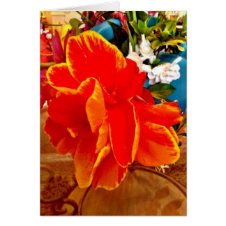Bright Orange Floral Greeting Card