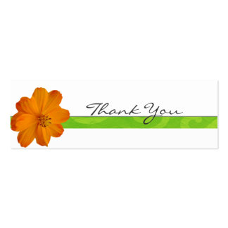 Bright Orange Floral Thank You Note Double-Sided Mini Business Cards (Pack Of 20)