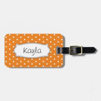 Bright orange flower polka dots named luggage tag