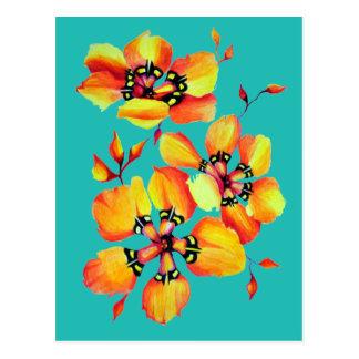 Bright Orange Flowers - Aqua Postcard