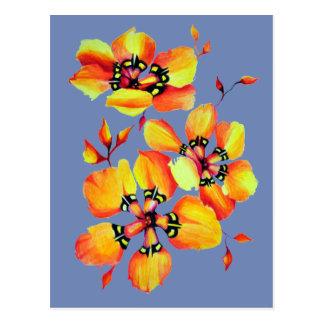 Bright Orange Flowers - Blue Grey Postcard