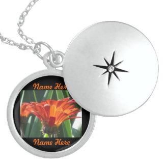 Bright Orange Flowers Round Locket Necklace