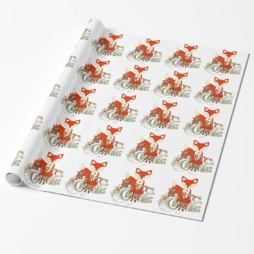 Christmas Themed Bright Orange Fox Merry Christmas Gift Wrap