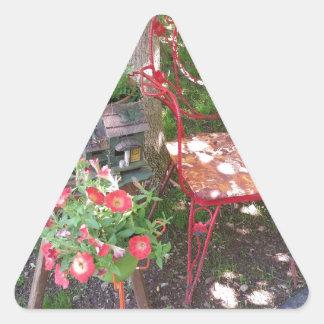 Bright orange garden chair triangle sticker