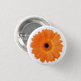 Bright Orange Gerbera Daisy Flower Pinback Button