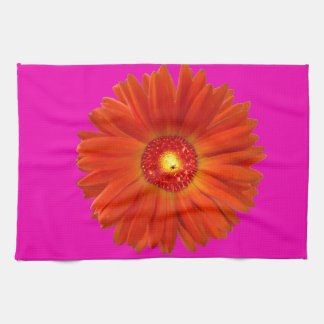 Bright Orange Gerbera Daisy on Hot Pink Hand Towel