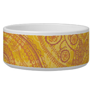 Bright Orange & Gold Paisley Bowl