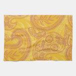 Bright Orange & Gold Paisley Hand Towel