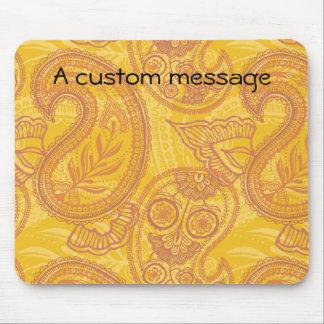 Bright Orange & Gold Paisley Mouse Pad