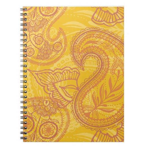 Bright Orange & Gold Paisley Spiral Notebook