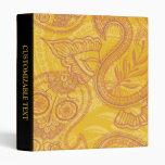 Bright Orange & Gold Paisley Vinyl Binders