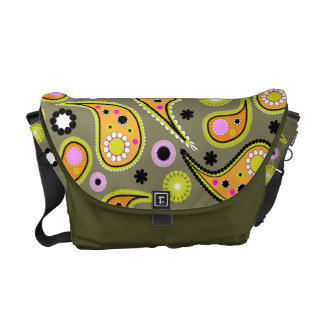 Bright Orange,Green and Black Paisley Courier Bag