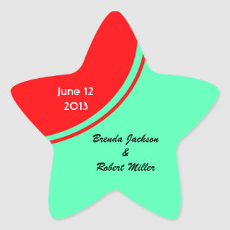 Bright Orange Green Modern Wedding Star Sticker