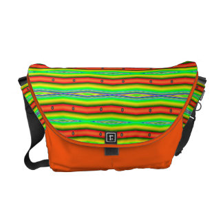 bright orange green stripes messenger bag