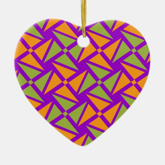 Bright Orange Green Triangle Pattern on Purple Ceramic Ornament