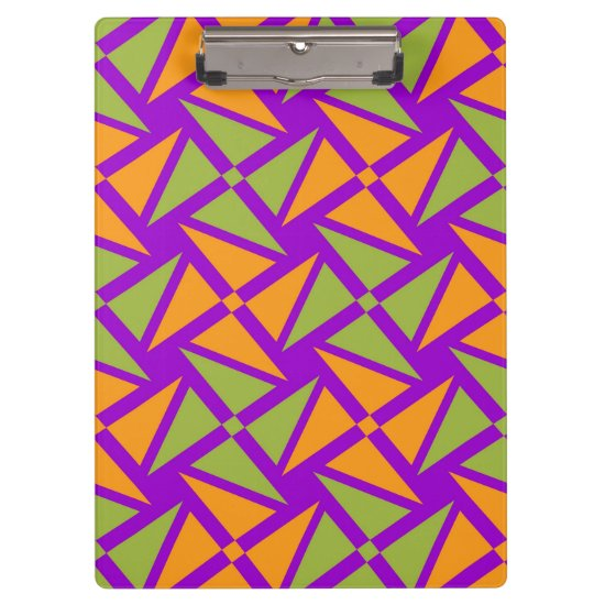 Bright Orange Green Triangle Pattern on Purple Clipboard