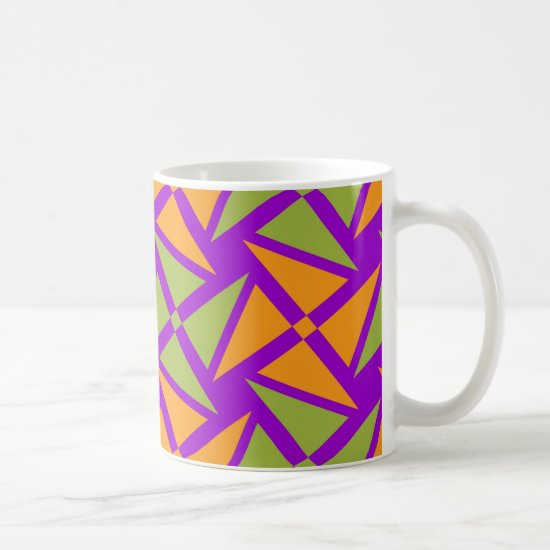 Bright Orange Green Triangle Pattern on Purple Coffee Mug