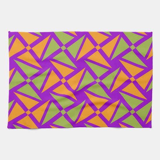 Bright Orange Green Triangle Pattern on Purple Kitchen Towel