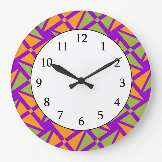 Bright Orange Green Triangle Pattern on Purple Large Clock