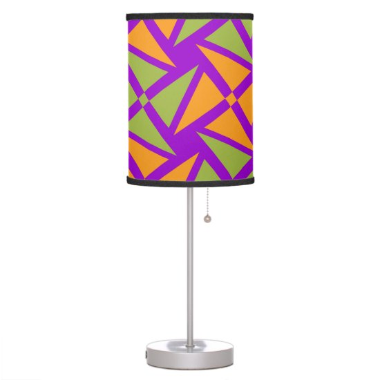 Bright Orange Green Triangle Pattern on Purple Table Lamp