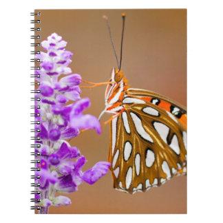 Bright Orange Gulf Fritillary Butterfly Spiral Notebook