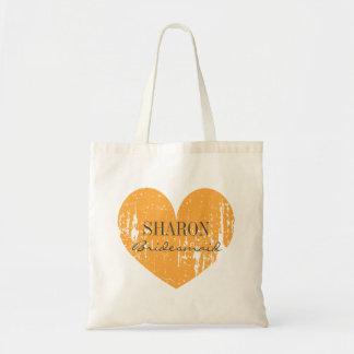 Bright orange heart bridesmaid wedding tote bags