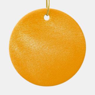 Bright Orange Leather Look Christmas Ornament