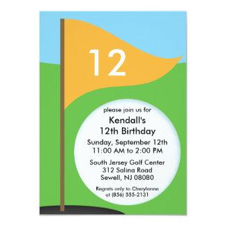 Bright Orange Let's Bogie Mini Golf Birthday Party Card