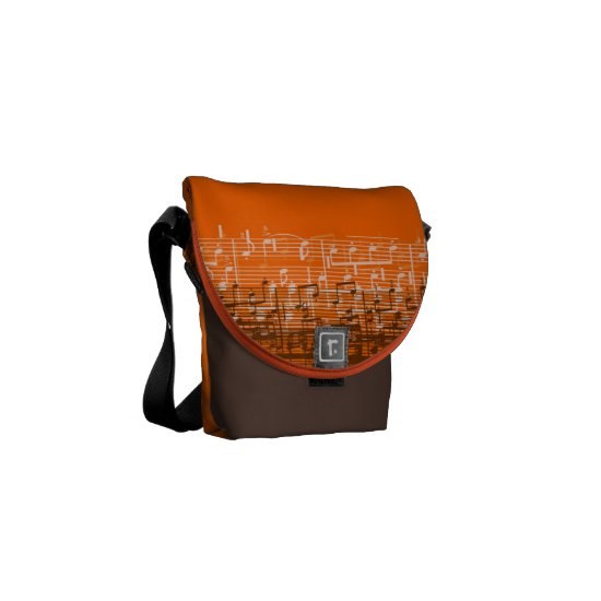 Bright orange messy music notes mini messenger bag