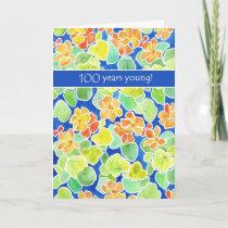 Bright Orange Nasturtiums Floral 100th Birthday Card