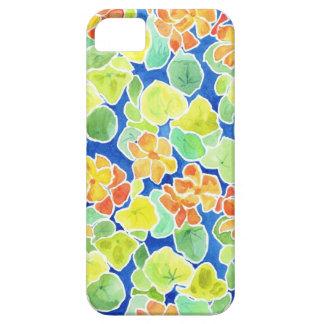 Bright Orange Nasturtiums on Blue Background iPhone SE/5/5s Case