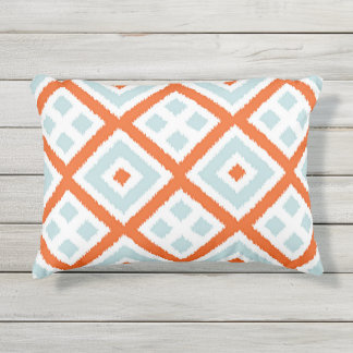 Bright Orange Pale Gray Green Blue Squares Pattern Outdoor Pillow