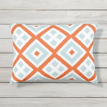 CozyLivin Bright Orange Pale Gray Green Blue Squares Pattern Outdoor Pillow
