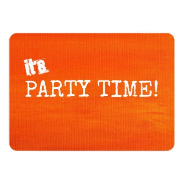 Halloween Themed Bright Orange Party Time Painted Canvas Inspired Card